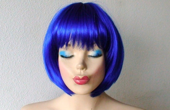 Blue Wig Royal Blue Wig Short Wig Bob Hair Wig Color Wig