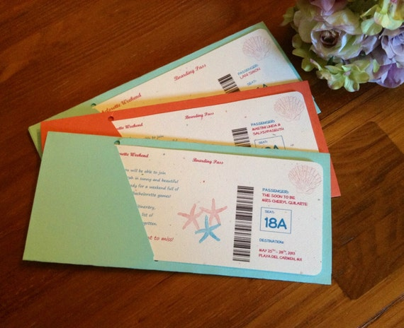 Boarding Pass Bachelorette Invites or Welcome Cards