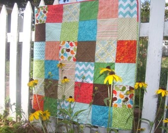 Baby Quilt with Embroidered Name-  Modern Baby Quilt- Aqua Baby Quilt-Gender Neutral Baby Quilt- Patchwork Baby  Quilt - Chevron Quilt