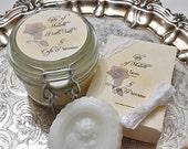 Lady Of Shalott Bath Salts and Single Bar Of Goats Milk, Shea Butter, Jojoba Oil, Honey, Olive oil Soap -Literature collection-