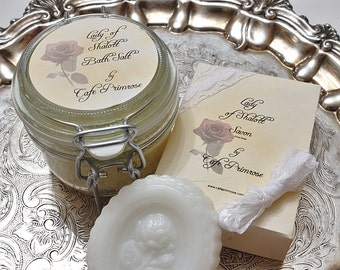 Lady Of Shalott Bath Salts and Single Bar Of Goats Milk, Shea Butter, Jojoba Oil, Honey, Olive oil Soap -Literature collection-