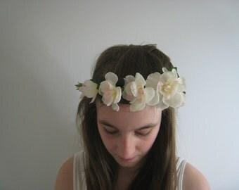 Flower headdress, Pink and White Blossom on Felted Circlet.