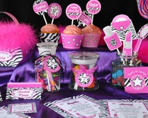 Diva Glam Spa Party HOT PINK zebra print pdf printable PERSONALIZED Deluxe Party Kit