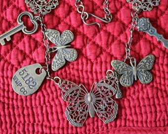 Brass Butterfly Necklace with Brass Chain andAssorted Charms, Charm Necklace,