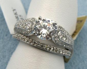 Gorgeous 0.70cttw. Diamond Semi Mount, 14K White Gold Size 6.75,SKU R-1661