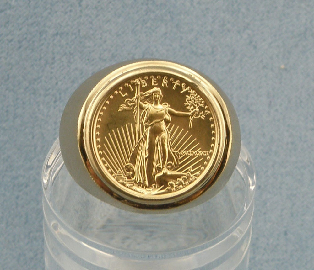 1991 5dollar Gold American Eagle Coin Ringring Size9 5 Set In