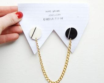 Collar Clips  / hand drawn / hand made