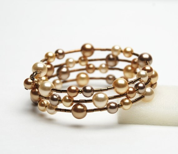 Large wrist memory wire bracelet gold swarovski by lilicharms for Plus size jewelry bracelets