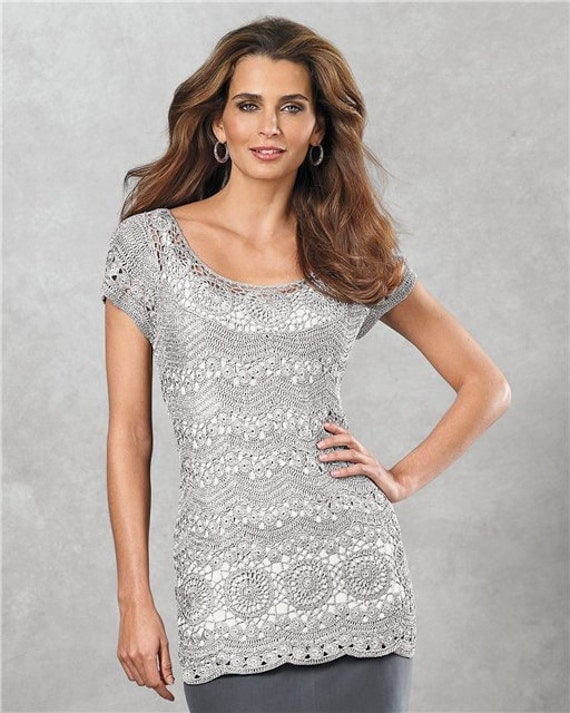 CROCHET FASHION TRENDS exclusive grey crochet blouse - made to order