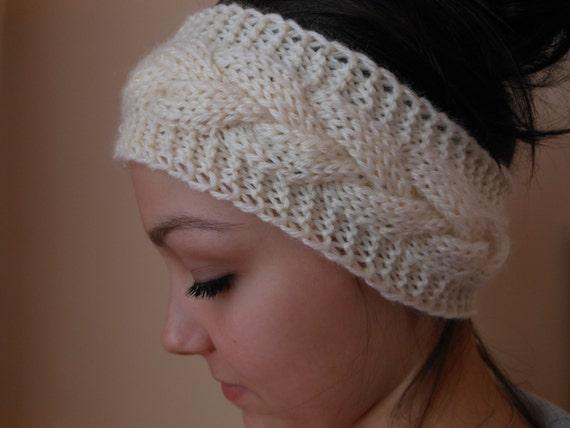 Knit Cable Headband Ear Warmer Head Warmer Cream