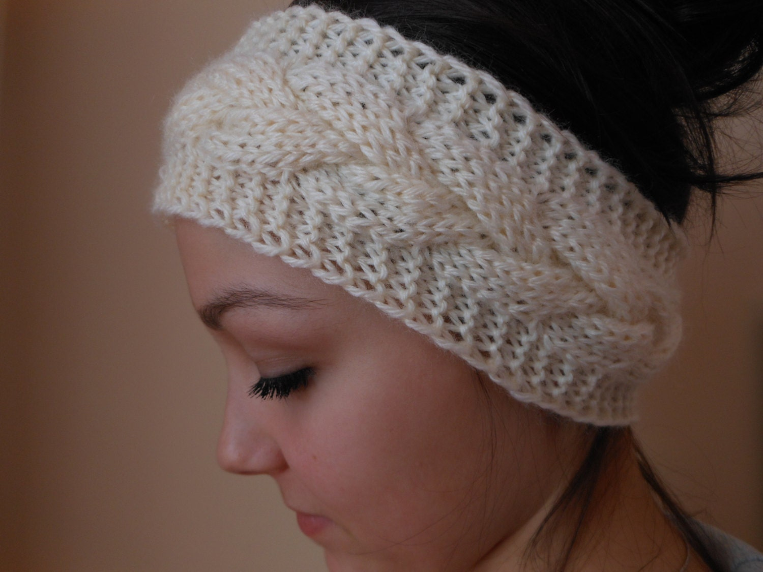 Knitting Pattern Headband Ear Warmer : Knit Cable Headband Ear Warmer Head Warmer Cream
