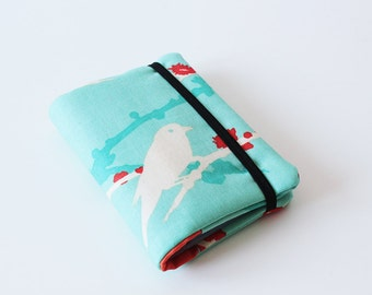 Gift Card Holder, Card Case, Business Card Holder, Credit Card Organizer - Bird - Turqoise/Teal, Orange