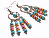 Desert Sunrise Multi Color Copper Beaded Earrings Bohemian Jewelry Tribal Jewelry