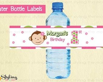 Pink Mod Monkey Water Labels