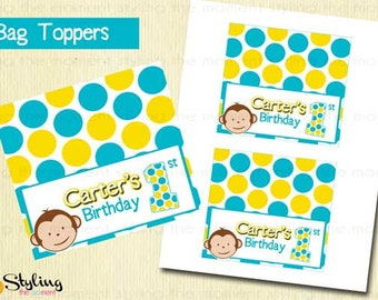 BAG TOPPERS Mod Monkey Printable