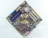 Motherboard Wall Clock, Geekery, Techie Art, Yellow, Geekery, Clocks by DanO