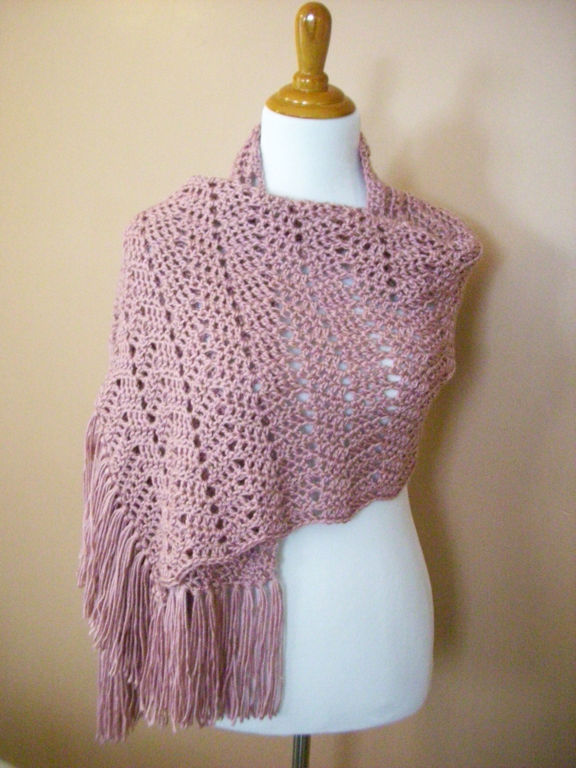 Crochet Pattern Ripple Shawl : Crocheted Ripple Shawl / Wrap / Victorian Rose / Pink / with
