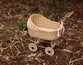 Wicker Doll buggy stroller made of white whicker