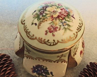 Antique Gold Guilt Porcelain Floral Hinged Jewelry or Trinket Box