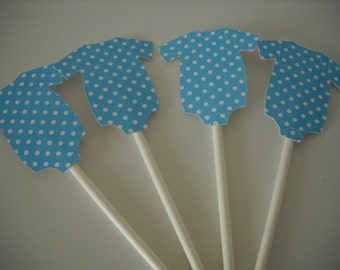 Dotted Onesie Cupcake Toppers - set of 12