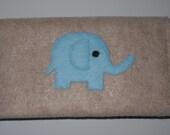 Felt Check Book Cover / Wallet- Elephant