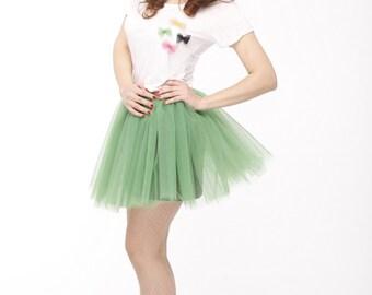 Green tulle mini skirt