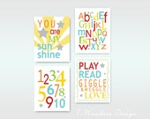 "Childrens Kids Love and Learning Wall Art Prints // Orange, Yellow, Blue, Red, Green // Set of (4) 11"" x 14"" - Kids Bedroom Nursery Playroom"