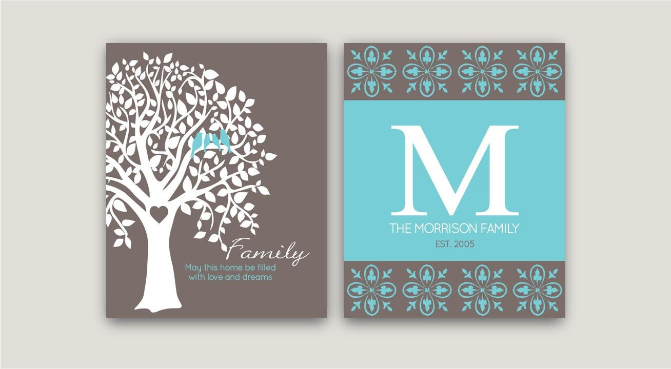Family Tree Art Prints With Personalized Monogram Last Name
