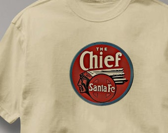 Santa Fe Chief Railway T Shirt Vintage Logo Railroad Train Tee Shirt Mens Womens Ladies Youth Kids