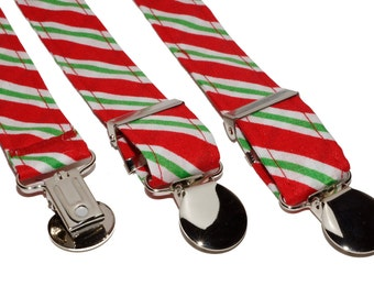 Suspenders - Red green and white striped Adjustable Suspenders