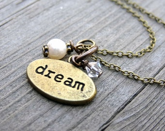 Bronze DREAM White Freshwater Pearl Crystal Bead Necklace Pendant Handmade Inspiration Jewelry