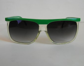 Vintage Apple Green Browline & Clear Square-Frame Sunglasses