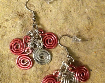 Pink and Silver Spiral Cascade earrings