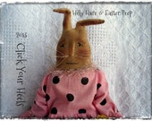 E Pattern Primitive Hilly Hare & Easter Peep Rabbit Click Your Heels