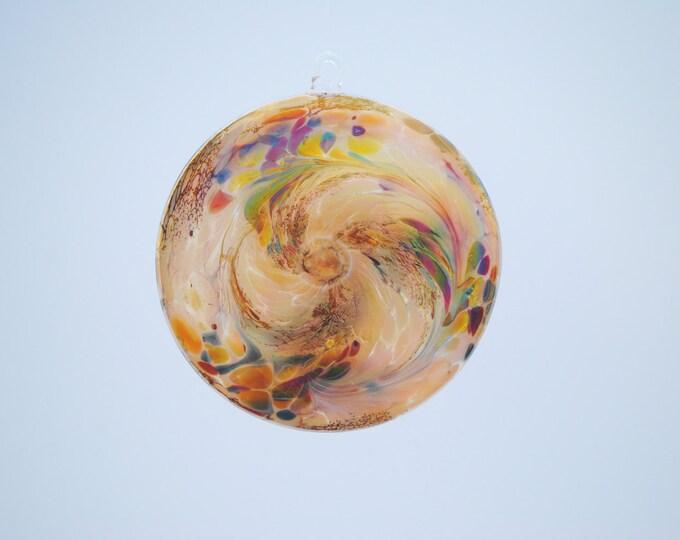 Flat Disc Iridescent Apricot Suncatcher