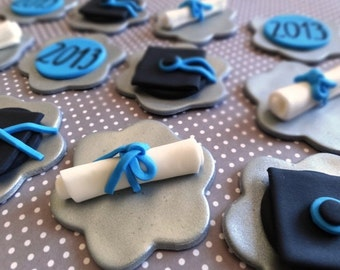 12 Fondant edible cupcake toppers, graduation, diploma, diploma hat, class of 2017, fondant graduation,university, high school
