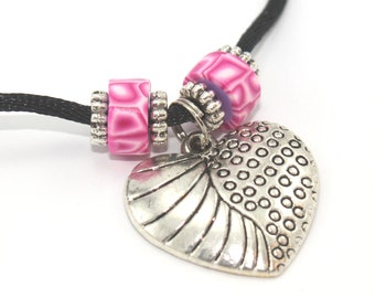 Valentines day gift, Heart necklace with polymer clay pink beads and silver plated charms, pendant gift for girls and teens