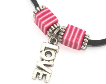 Love necklace with polymer clay pink and white square beads and silver plated charms, pendant gift for girls and teens