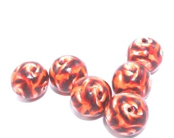 Round beads, Polymer Clay abstract beads in maroon, red, orange and white, Set of 6 unique beads