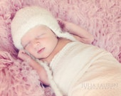 Vintage Inspired Knitted Infant Earflap Hat, Gender Neutral Baby Photo Prop - Custom Order in your choice of size