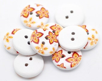 100 White Painted Floral Wood Button Two Hole (Design no.14)  15mm - 100 Pack Wholesale BULK Buttons WPB11