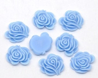 10 Resin Flower Cabochon Rose with Iridescent Glitter 21 x 19mm -  BLUE  - Pack of 10 CAB43