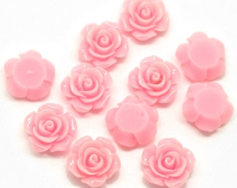 """10 Resin Flower Cabochon Delicate Rose - 14 x 6mm(1/2""""x1/4"""") - Soft Pink  - Pack of 10 CAB31"""