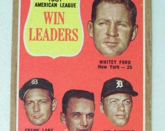 Vintage 1961 American League Win Leaders Baseball Card, 57 Topps 1962, Frank Lary, Steve Barber, Whitey Ford, Jim Bunning