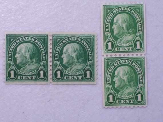 1923 Ben Franklin Us Postage Stamps 1 Cent Scott 597 Amp 604