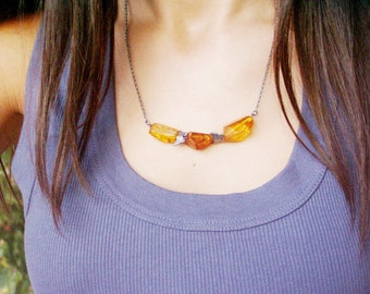 Amber and oxidised silver necklace, short sterling necklace with luminous amber stones and butterflies