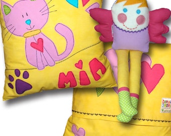 Cat Pillow& Little Angel Toy -  Personalized Pillow Case Cushion Custom Name Yellow Pink