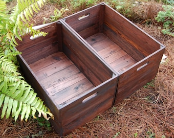 Set of Large Looney Bin Crates/ Apple Crates/ Wooden Crates/ Storage/ Reclaim