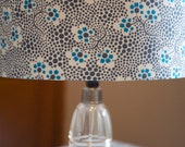 Handmade drum forget me not blue lampshade grey white flowers uk