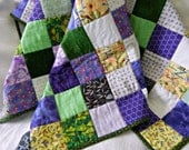 Baby or Child's Quilt: Multicolored Handmade Patchwork or Quilted Wall Hanging (Grey - Gray - Green, Lavender)